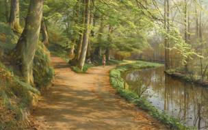 Danish realist painter, датский живописец, Петер Мёрк Мёнстед, Peder Mоrk Mоnsted, 1929, Дети у реки, Children by a stream
