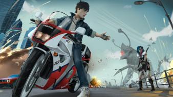 мужчина, мотоцикл, существо, город, фон, девушка