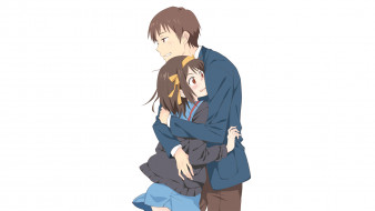 аниме, the melancholy of haruhi suzumiya, девушка, взгляд, фон