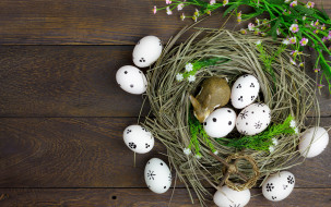 Easter, Пасха, сено, весна, wood, яйца, decoration, flowers, eggs, цветы, spring, Happy