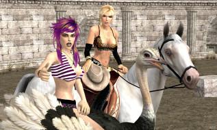 фон, взгляд, девушка, лошадь