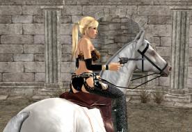 девушка, взгляд, фон, лошадь