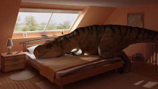 динозавр, дом, кровать, спальня