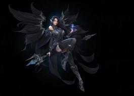 магия, крылья, взгляд, арт, броня, костюм, девушка, черный фон, фэнтЕзи