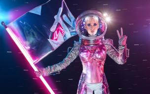 девушка, космонавт, флаг, скафандр, певица, взгляд