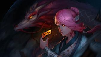 Onmyoji, змей, арт, девушка, игра, дракон
