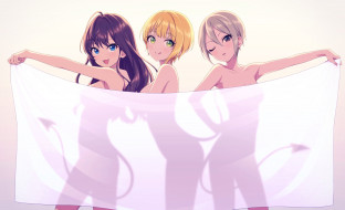 аниме, idolm@ster, девушки, фон, взгляд