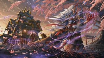 аниме, onmyouji, демон, ветер, onmyoji, дерево, blood, season, парень, арт