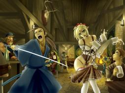 бар, меч, официантка, фон, самурай, взгляд, девушка, мужчина