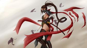 аниме, оружие,  техника,  технологии, униформа, маска, фон, девушка, меч