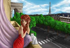 день, взгляд, кот, Париж, фон, девушка