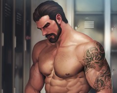 мужчина, мышцы, борода, арт, тело, раздевалка
