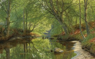 Peder Mоrk Mоnsted, 1896, Лесной ручей, Danish realist painter, Forest stream, датский живописец, Петер Мёрк Мёнстед