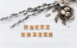 Easter compositions, праздник, eggs, Пасха, верба, wood, декор, весна