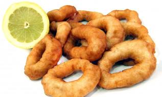 еда, рыбные блюда,  с морепродуктами, кальмар, лайм, кольца