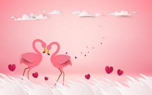 векторная графика, животные , animals, фламинго, рендеринг, любовь, пара, птицы, розовый, фон, сердечки