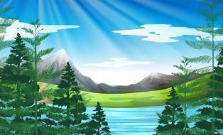 горы, рендеринг, природа, sun, mountains, rendering, деревья, trees, солнце, nature