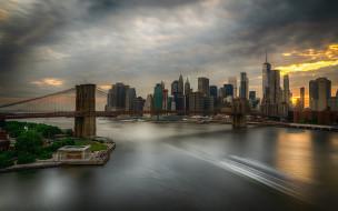 США, Бруклин, закат, подвесной мост, городской пейзаж, бруклинский мост, небоскребы, 4 июля, всемирный торговый центр, Манхэттен, Нью-Йорк, Ист-Ривер