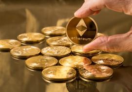 разное, золото,  купюры,  монеты, bitcoin, синий, эфир, ethereum, лого, галактика, eth, fon, валюта