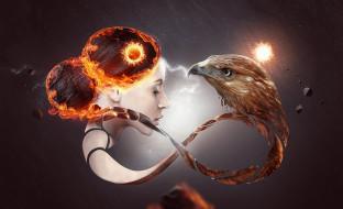 девушка, лицо, орел, знак, бесконечность