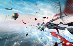 небо, самолеты, воздушные шары, облака, абстракция