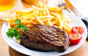 Лето 2018, картофель, стейк, фри, мясо