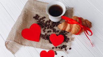 кофе, зерна, круассан
