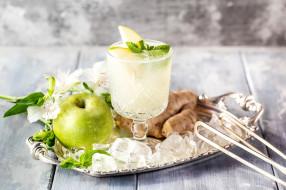 яблоко, лед, коктейль