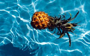 еда, ананас, вода, отражение