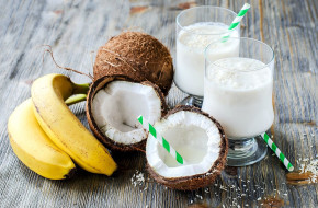 еда, разное, молоко, кокос, банан