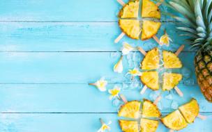 еда, ананас, fruit, fresh, flowers, wood, plumeria, slice, tropical, плюмерия, фрукты, ломтики, pineapple, summer