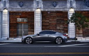 автомобили, hyundai, здание, серый, genesis, coupe