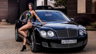 обои для рабочего стола 1920x1080 автомобили, -авто с девушками, брюнетка, черный, бентли, двор, каблуки, купальник
