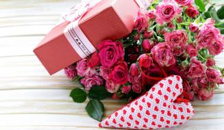 праздничные, день святого валентина,  сердечки,  любовь, розы, седечко, подарок