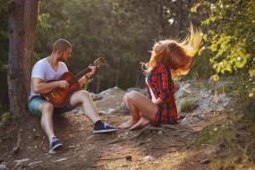 девушка, гитара, природа, парень