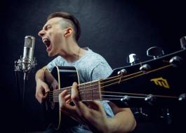 музыка, -другое, гитара, мужчина, микрофон