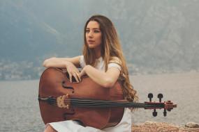 музыка, -другое, природа, виолончель, взгляд, девушка