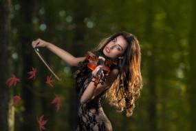 взгляд, листья, девушка, скрипка