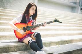 музыка, -другое, ступени, азиатка, взгляд, гитара, девушка