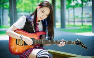 музыка, -другое, азиатка, гитара, взгляд, девушка