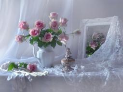 кружево, зеркало, розы, букет, перчатки, статуэтка, стиль, цветы