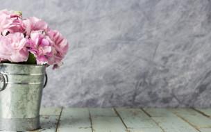 розовые, wood, beautiful, ведро, flowers, цветы, vintage, romantic, лепестки, pink