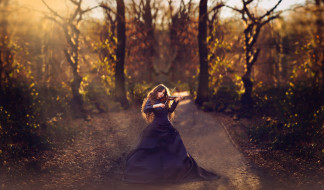 музыка, -другое, деревья, скрипка, девушка, природа