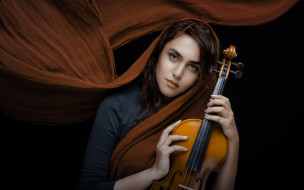 музыка, -другое, девушка, скрипка, взгляд