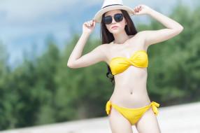 бикини, фигура, боке, купальник, девушка, шляпа, поза, очки, модель, азиатка