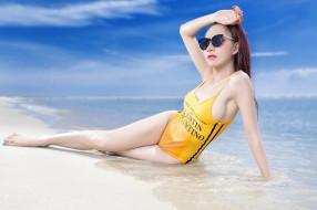пляж, поза, азиатка, море, купальник, девушка, очки, модель