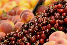 еда, фрукты,  ягоды, персики, ягоды, черешня