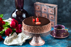 еда, торты, цветы, шоколад, ягоды, торт