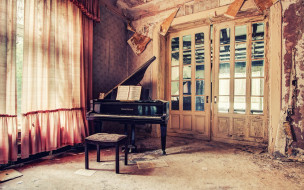 рояль, табурет, комната