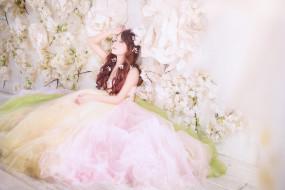 прическа, цветы, платье, Девушка, невеста